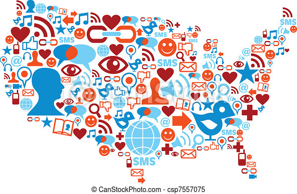 USA map with social media network icons - csp7557075