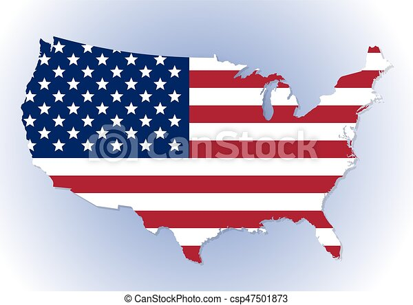 Usa map with the national flag inside. High detailed united states ...