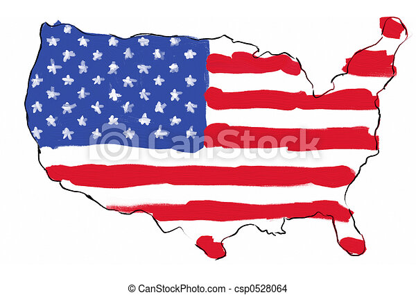 Drawing Of USA Mapflag USA Map With Flag In It Hand Painted In - Us map logo