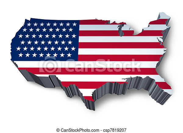 U.S.A. mapped flag in 3D - csp7819207