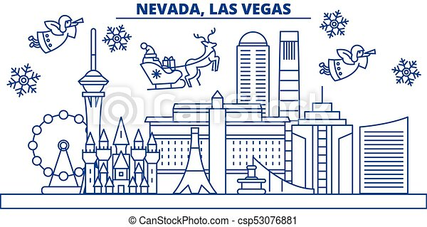 usa nevada las vegas winter city skyline merry christmas and happy new year decorated banner