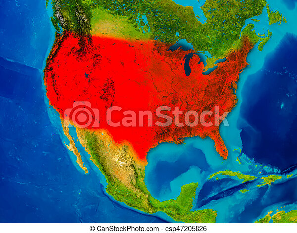 Usa on physical map. Usa highlighted in red on physical map. 3d ...