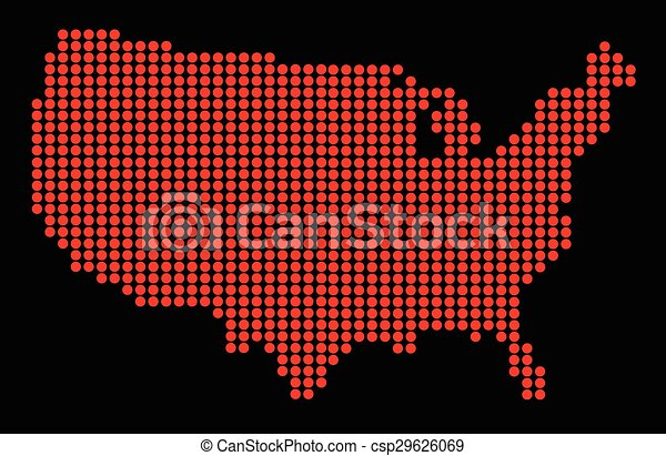 Line Art Usa Map : Usa outline dot map a of the united states america clip
