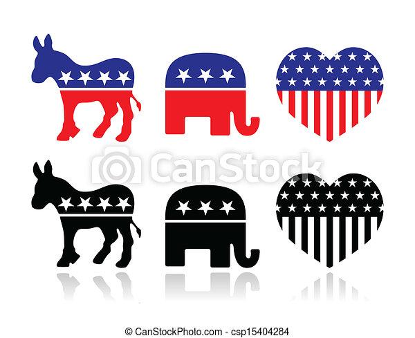 Usa Political Party Symbols The Democrat And Republican Vector
