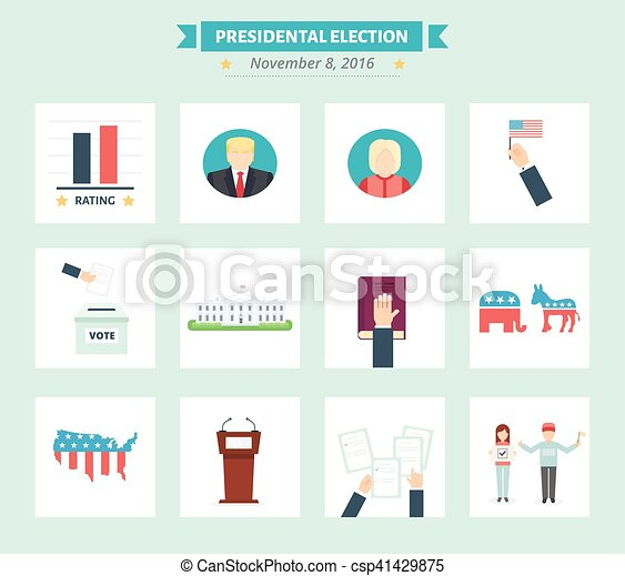 Usa Presidental Election Icons Set Vote Concept Symbols In