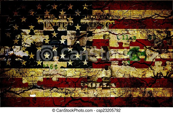 Usa puzzle flag - csp23205792