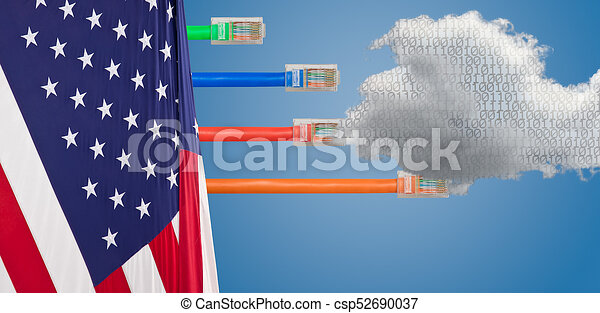 Cloud Computing and USA Flag in net neutrality image - csp52690037
