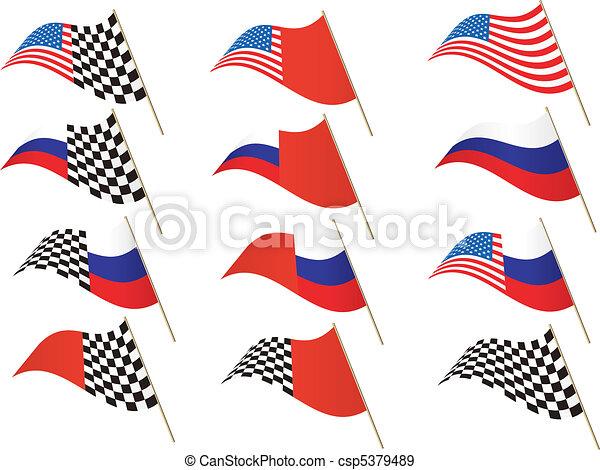 USA, Russia, Checkered Flag - csp5379489