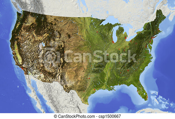 USA, shaded relief map - csp1500667