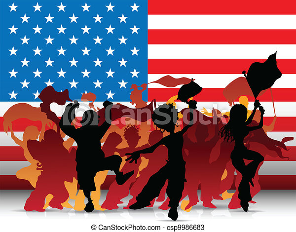 USA Sport Fan Crowd with Flag - csp9986683