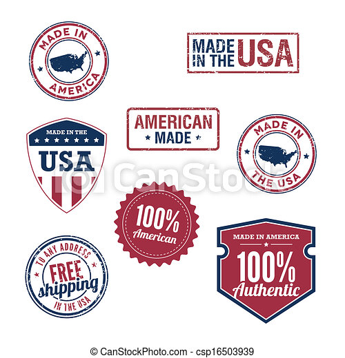 USA stamps and badges - csp16503939
