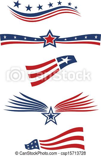 USA star flag design elements - csp15713728
