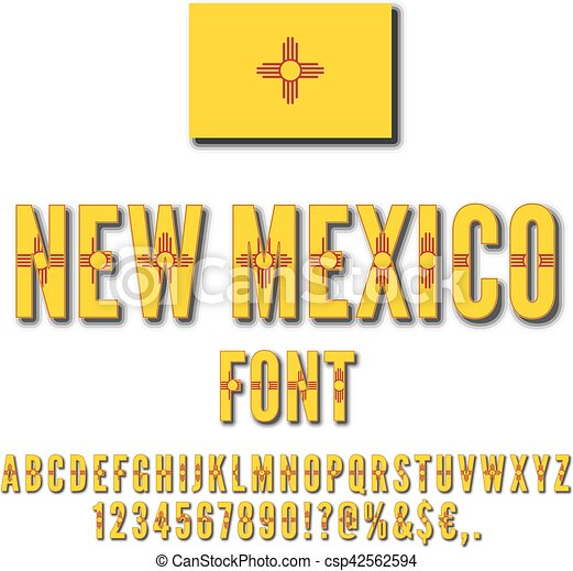 Usa State Font New Mexico Usa State Flag Font Alphabet Numbers