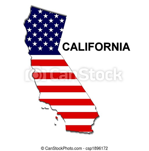 USA state of California in stars and stripes design - csp1896172
