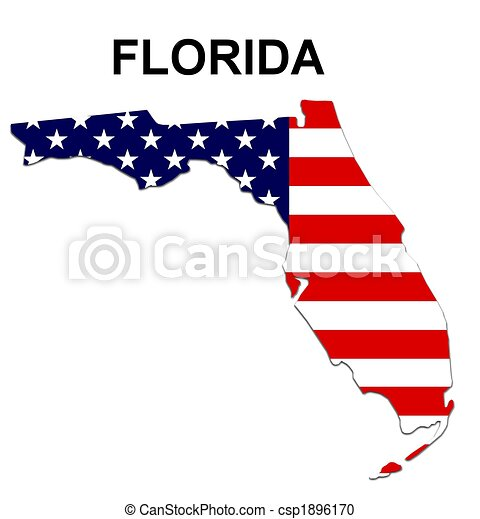 USA state of Florida in stars and stripes design - csp1896170