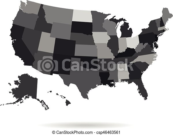 Usa states map isolated for infographic blank usa map template.