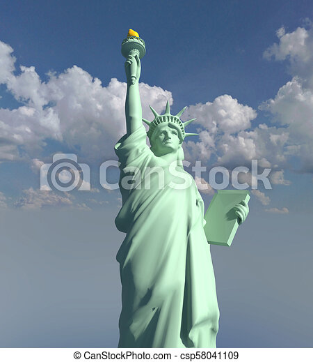 Usa Statue Of Liberty Illustration 3d Render