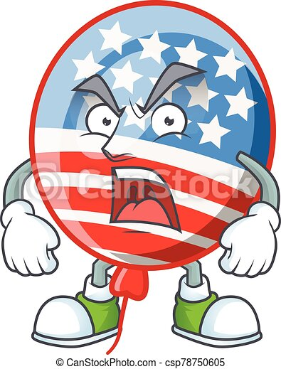 USA stripes balloon cartoon character design with angry face - csp78750605