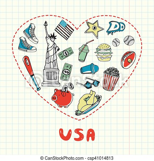 Usa Symbols Pen Drawn Doodles Vector Collection Love Usa Dotted
