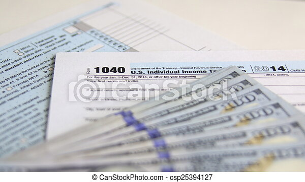 Usa Tax Form 1040 With 100 Us Dollar Bills Business Concept Clip