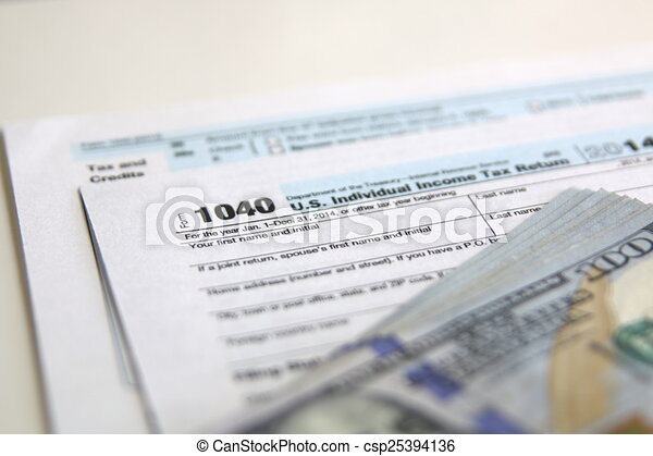 Usa Tax Form 1040 With 100 Us Dollar Bills Business Concept