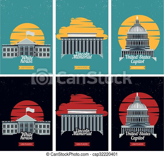 lincoln memorial building clipart. vector illustration with american famous buildings capitol white house lincoln memorial building clipart y