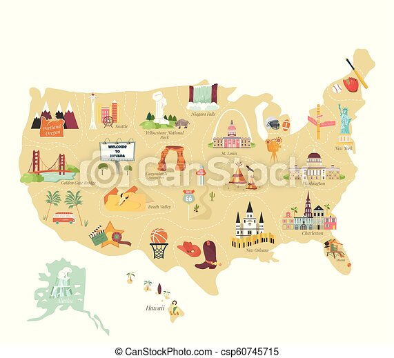 Usa Tourist Vector Map With Famous Landmarks And Symbols Tourist