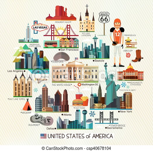 Usa travel map. Vector set of various united states of america icons ...