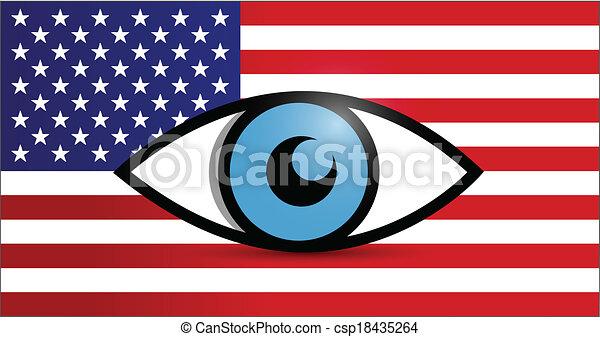 usa under surveillance illustration design - csp18435264
