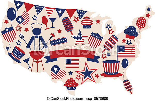 USA vector icons for american independence day - csp10570608