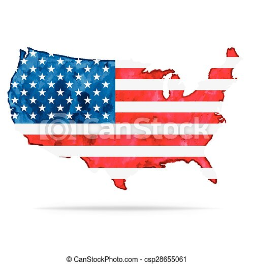USA Watercolor Vector Map With Flag US Watercolor Vector Clip - Vector map of us