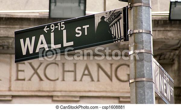 usa, zamiana, wallstreet, nowy york, pień - csp1608881