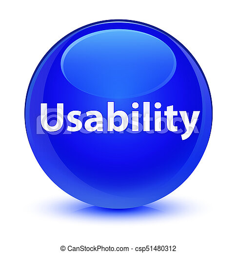 Usability glassy blue round button - csp51480312