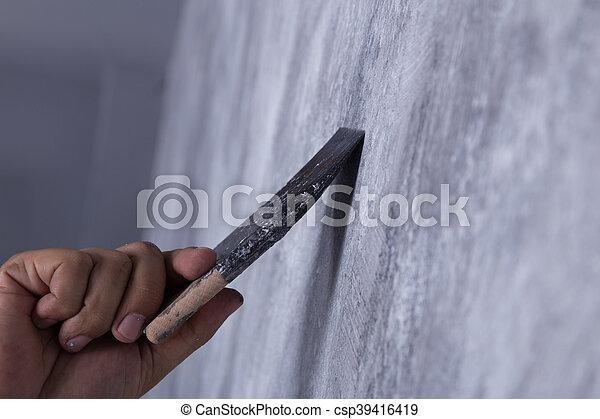 Usage Grenier Peinture Couleur Ouvrier Style Béton Brosse Mur