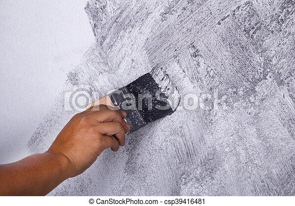Usage Grenier Peinture Couleur Style Main Béton Brosse Mur