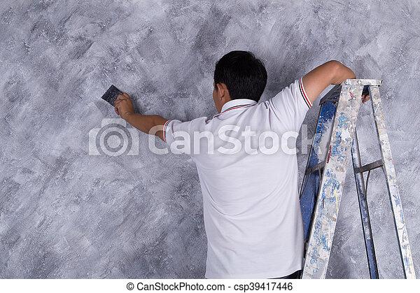 Usage, Grenier, Peinture, Couleur, Ouvrier, Style, Béton, Brosse,