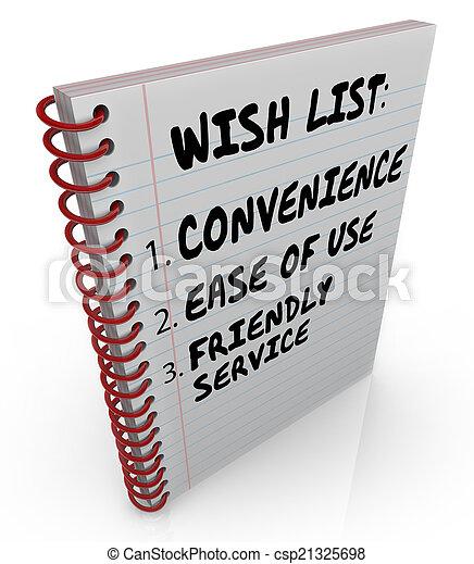 usage, service, souhait, facilité, liste, écrit, commodité, cahier, amical - csp21325698