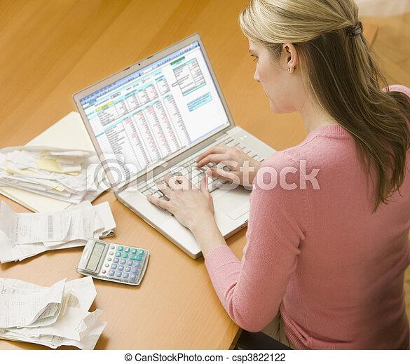 usar la computadora portátil, mujer, finanzas - csp3822122