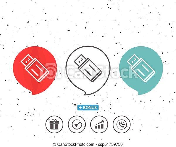Speech Bubbles With Symbol Usb Flash Drive Line Icon Memory Stick