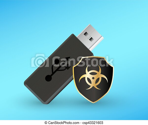usb flashdrive with a protection shield antivirus computer - csp43321603