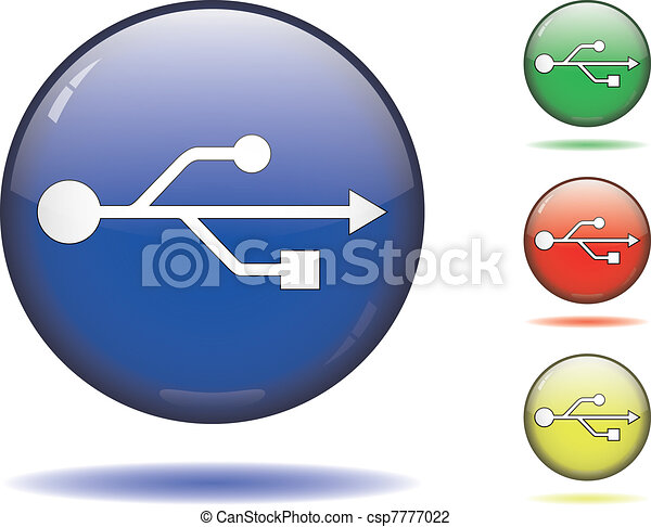 Usb Symbol On Color Spheres White Usb Symbol On A Sphere In