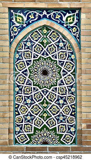 Usbekistan, Altes , Wand, Mosaik, Östlich Stockfoto