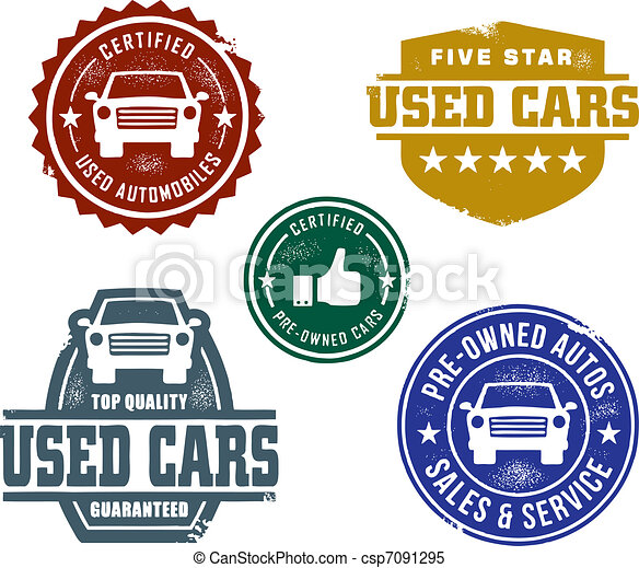 Used Car Sales Stamps A Selection Of Vintage Styled Used Car Lot