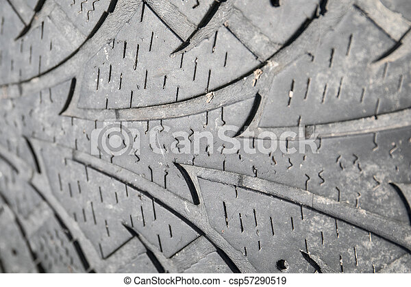 used car tire, texture and tread pattern - csp57290519