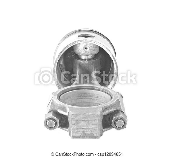 Used piston with a rod isolated on a white background - csp12034651