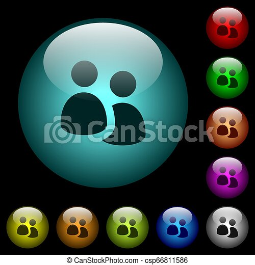 User group icons in color illuminated glass buttons - csp66811586