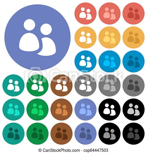 User group round flat multi colored icons - csp64447503