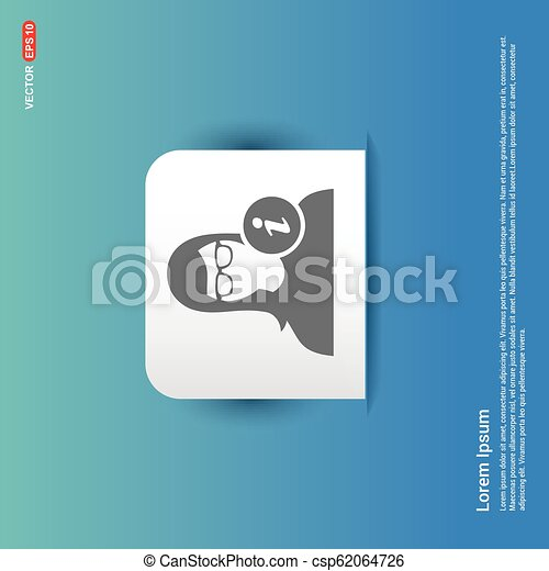 User Info Icon - Blue Sticker button - csp62064726