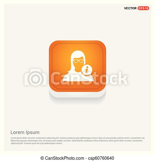 User Info Icon Orange Abstract Web Button - csp60760640