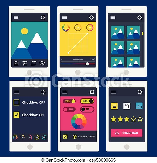 User interface vector phone laptop tab device mobile app indicators  download progress ui-ux web interface design template file upload  illustration